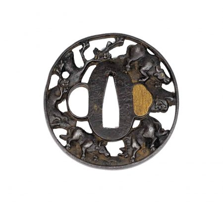 A fine chiseled tsuba, Edo Period