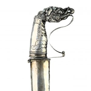 An excellent silver hilted pedang.