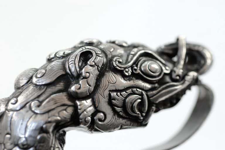 A fine Javanese silver makara pedang.